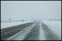 Road with snowdrift in winter. Grand Teton National Park ( color)