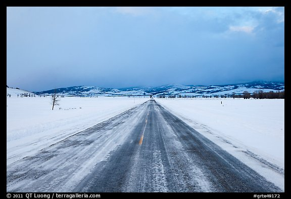 Road in winter at dusk, Gross Ventre valley. Grand Teton National Park (color)