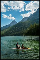 Family kayaking, String Lake. Grand Teton National Park ( color)