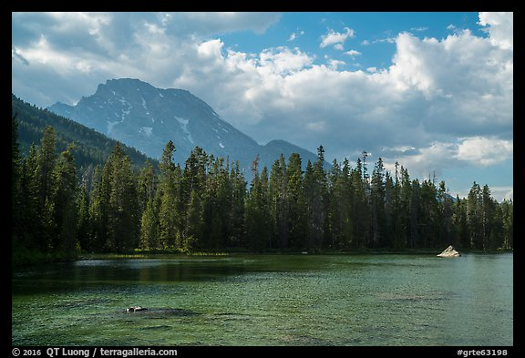 Mount Moran and String Lake, afternoon. Grand Teton National Park (color)