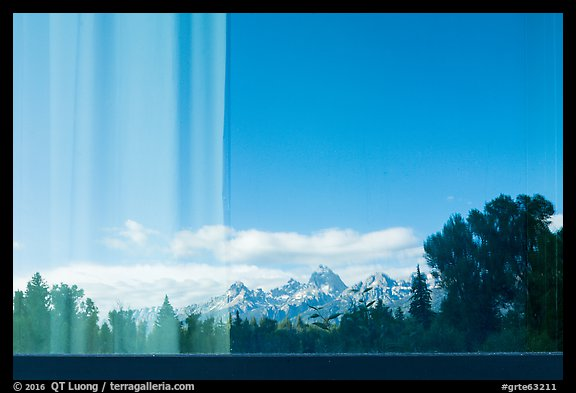Teton Range, Craig Thomas Discovery and Visitor Center window reflexion. Grand Teton National Park (color)