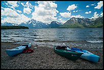 Kayaks on shores of Jackson Lake. Grand Teton National Park ( color)