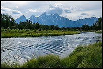 Teton Range in summer from Schwabacher Landing, afternoon. Grand Teton National Park ( color)