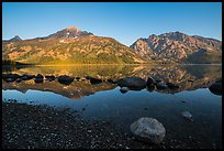 Teton Range reflected in Jenny Lake at sunrise. Grand Teton National Park ( color)