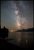 Milky Way and Teton Range from Jackson Lake at night. Grand Teton National Park ( color)