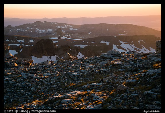 Alpine tundra and ridges at sunset, Lower Saddle. Grand Teton National Park (color)