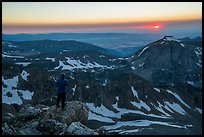 Mountaineer watches sunset from Lower Saddle. Grand Teton National Park ( color)
