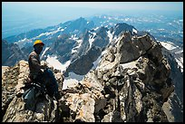 Climber handling rope on Upper Exum Ridge, Grand Teton. Grand Teton National Park ( color)