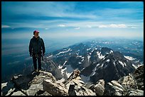 Climber standing on summit of Grand Teton. Grand Teton National Park ( color)