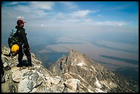 Climber looking from summit of Grand Teton. Grand Teton National Park ( color)