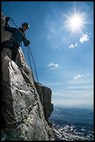 Climber preparing for rappel on Grand Teton. Grand Teton National Park ( color)
