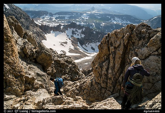 Climbers descend Grand Teton. Grand Teton National Park (color)