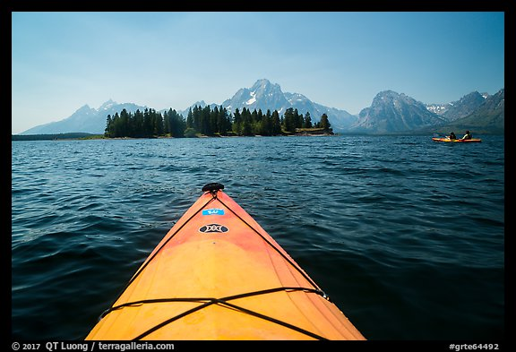 Kayak pointing at island in Colter Bay. Grand Teton National Park (color)