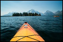 Kayak pointing at island in Colter Bay. Grand Teton National Park ( color)