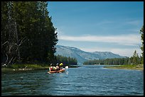 Kayakers approach narrow channel, Colter Bay. Grand Teton National Park ( color)