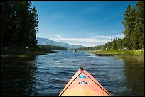 Kayak pointing at narrow channel, Colter Bay. Grand Teton National Park ( color)
