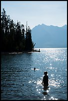 Late afternoon swim, Colter Bay. Grand Teton National Park ( color)