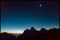 Total solar eclipse above the Tetons. Grand Teton National Park, Wyoming, USA.