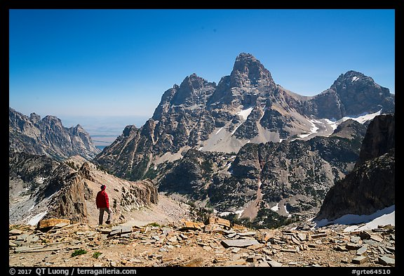 Visitor looking, Tetons from near Table Mountain. Grand Teton National Park (color)