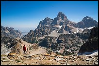 Visitor looking, Tetons from near Table Mountain. Grand Teton National Park ( color)