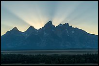 Crepuscular rays behind the Tetons. Grand Teton National Park ( color)