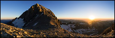 Middle Teton and sun setting from Lower Saddle. Grand Teton National Park (Panoramic color)