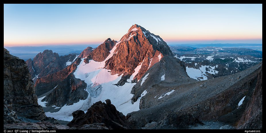 Middle Teton and Lower Saddle from Grand Teton at sunrise. Grand Teton National Park (color)