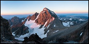 Middle Teton and Lower Saddle from Grand Teton at sunrise. Grand Teton National Park (Panoramic color)