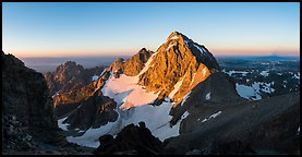Middle Teton and Lower Saddle from Grand Teton, sunrise. Grand Teton National Park (Panoramic color)