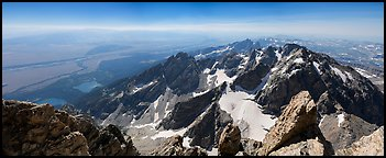 Jackson Hole and Tetons from Grand Teton. Grand Teton National Park (Panoramic color)
