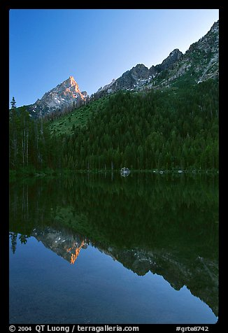 Leigh Lake with Tetons reflected, sunset. Grand Teton National Park (color)
