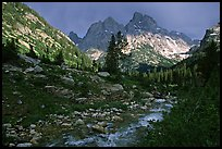 Tetons and Cascade Creek, afternoon storm. Grand Teton National Park ( color)