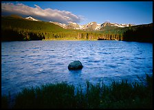 Rippled water in Sprague Lake, and snowy mountain range. Rocky Mountain National Park, Colorado, USA.
