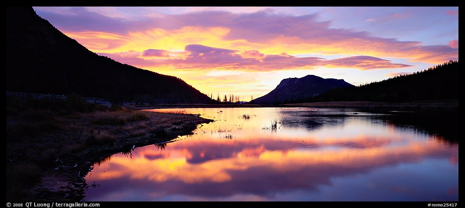 Cloud reflected in pond at sunrise. Rocky Mountain National Park (color)