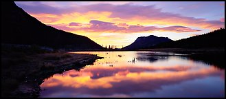 Cloud reflected in pond at sunrise. Rocky Mountain National Park, Colorado, USA.