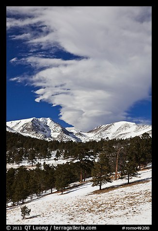Mummy range and cloud in winter. Rocky Mountain National Park (color)