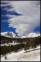 Mummy range and cloud in winter. Rocky Mountain National Park ( color)