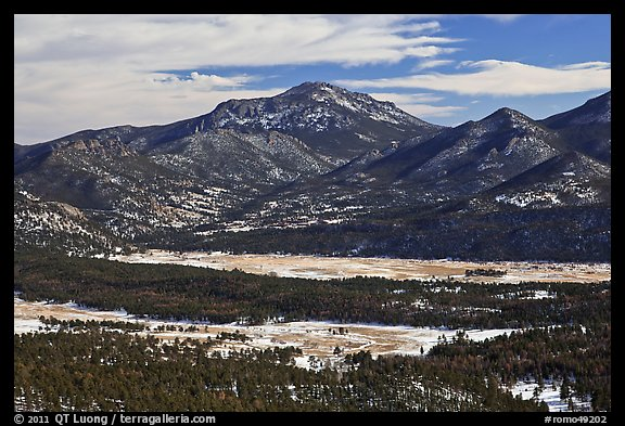 Moraine Park from above, Gianttrack Mountain, late winter. Rocky Mountain National Park (color)
