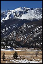 Moraine Park and Stones Peak in winter. Rocky Mountain National Park, Colorado, USA. (color)