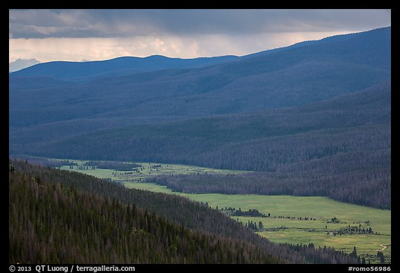 Kawuneeche Valley and storm. Rocky Mountain National Park (color)
