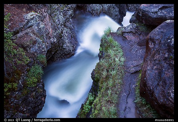 Creek in narrow gorge below Adams Falls. Rocky Mountain National Park (color)