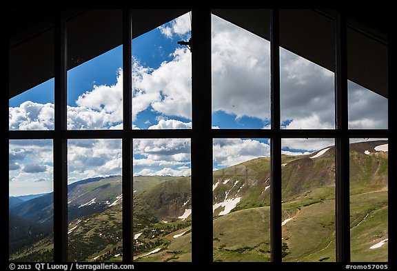 View from inside Alpine Visitor Center. Rocky Mountain National Park (color)