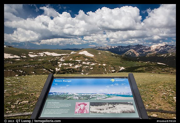 Interpretive sign, Gore Range. Rocky Mountain National Park (color)