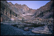 Longs Peak above Chasm Lake at twilight. Rocky Mountain National Park, Colorado, USA.