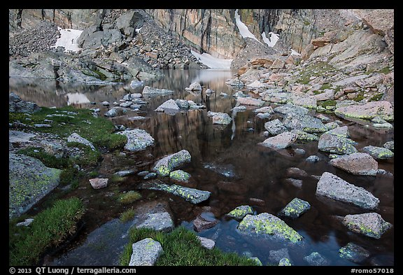 Alpine lake and boulders. Rocky Mountain National Park (color)