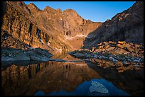 Longs Peak above Chasm Lake at sunrise. Rocky Mountain National Park, Colorado, USA. (color)