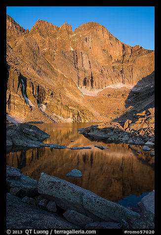Longs Peak and Chasm Lake at sunrise. Rocky Mountain National Park (color)