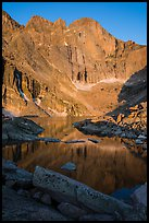 Longs Peak and Chasm Lake at sunrise. Rocky Mountain National Park ( color)