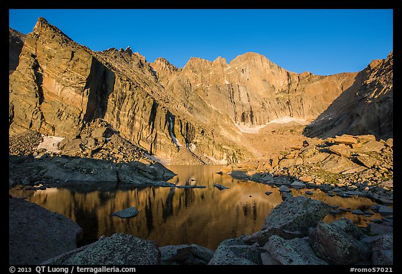 Chasm Lake with Longs Peak, Mt Meeker, and Mount Lady Washington at sunrise. Rocky Mountain National Park, Colorado, USA.