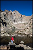 Hiker standing near Chasm Lake, looking at Longs peak. Rocky Mountain National Park ( color)